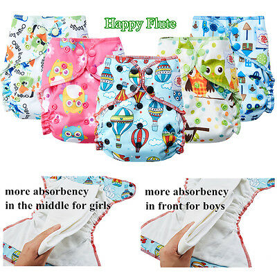 Happy Flute Overnight AIO Cloth Diaper Reusable Heavy Diapers for baby Toddler