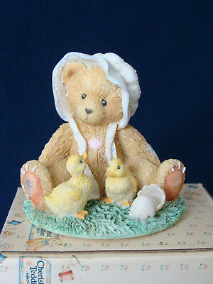 Cherished Teddies - Becky - Bear With Bonnet And Chicks Figurine - 616331 - 1993