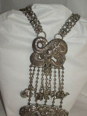 A 19th Century Chinese silver dragon chatelaine opium necklace chain READ