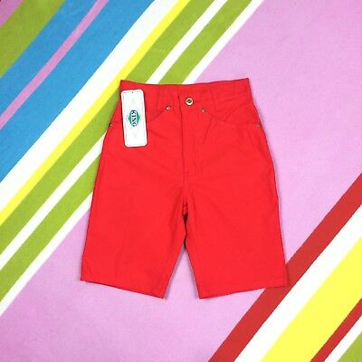 """70s Vtg KIDS Red Shorts High Waist 24"""" Teens  King Jeans Unisex Age 10 Cotton"""