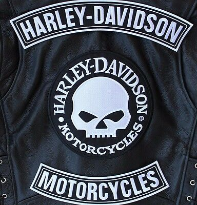 """HARLEY ROCKERS WILLIE G. SKULL BACK PATCH Motorcycle IRON ON Jacket Vest 3pc 15"""""""