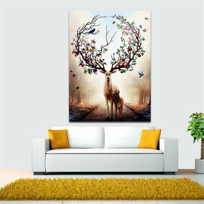 Deer Canvas Art Print Poster Oil Painting Wall Home Unframed Wall Decoration