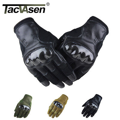 TACVASEN Army Gloves Military Tactical Full Finger Gloves Leather Hunting Gloves