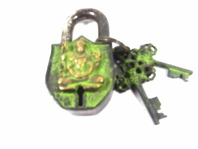 Lord Shiva Shiv Mahadev Design Handmade Antique Brass Padlock With Unique Keys