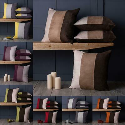 """Set of 4 Soft Faux Suede 18"""" Cushion Covers Stripe Design- Many Colour Options"""