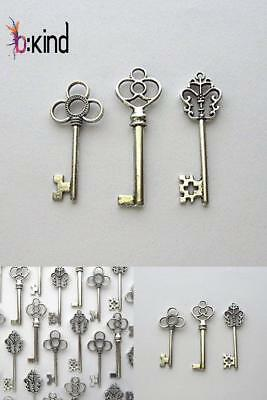 Lot Of 30 Silver Vintage Style Antique Skeleton Furniture Cabinet Old Lock Keys