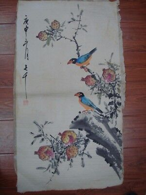 "Large Old Chinese Hand Painting Birds Fruits Marked ""ZhangDaQian"""
