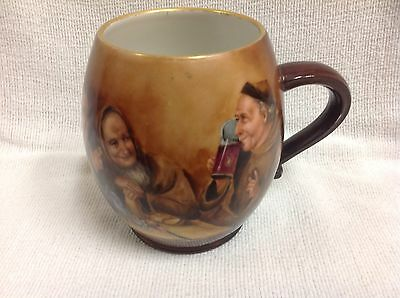 Antique Monks Painted Mug Artist Signed Unique
