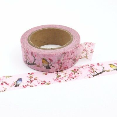 Washi Tape Pink Floral Blossom Bird 15mm x 10m