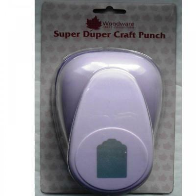 Woodware HAND PUNCH gift Tag label scallop top cuts paper card 6.7cm x 4.2cm