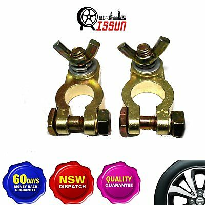 1 x Positive & 1 x Negative Battery Terminals Clamp Brass Connector Heavy Duty