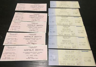 Vintage Ticket Stubs x 10 - New Zealand - Napalm Death