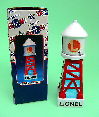 Salt & Pepper Shakers - LIONEL Water Tower Ceramic S&P Shakers Enesco  NIB