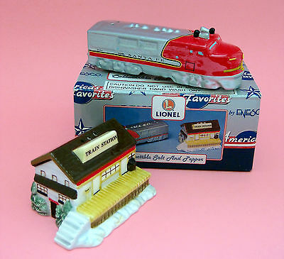 Salt & Pepper Shakers - LIONEL SANTA FE Engine & Train Station Ceramic Enesco