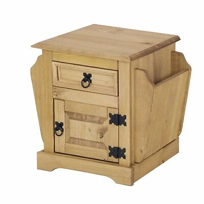 Corona 1 Drawer Magazine Table / Rack, Mexican Solid Pine, Rustic