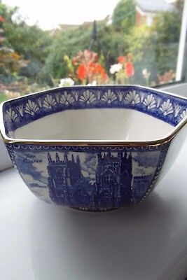 Wade for Ringtons Cathedrals & Castles Bowl Cobalt Blue Hexagonal Unused