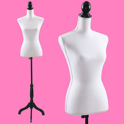Female Mannequin Torso Dress Clothing Form Display W/Black Tripod Stand New