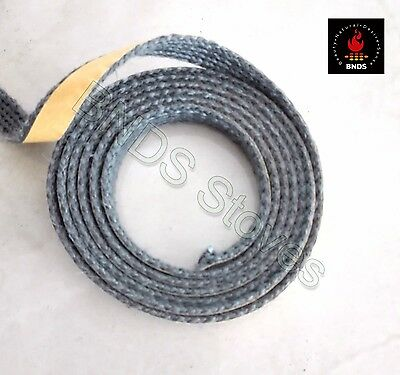 2m STOVE GLASS SEAL TAPE FIRE ROPE GASKET WOODBURNER BLACK FIBRE ADHESIVE BACKED