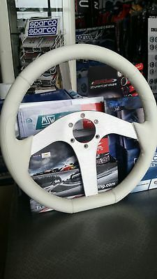 Sparco Steering Wheel Boat Sport White Leather  + 2 Key Ring Free