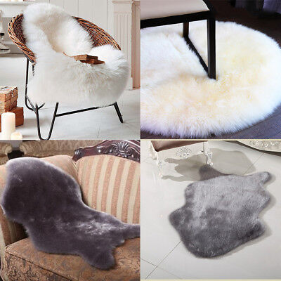 Soft Artificial Wool Chair Cover Warm Cosy Hairy Carpet Seat Pad Plain Skin Fur