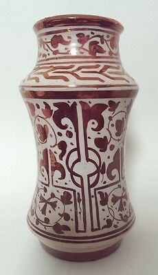 Antique Spanish Hispano-Moresque Style Copper Lustre Ware Albarello (Drug Jar)