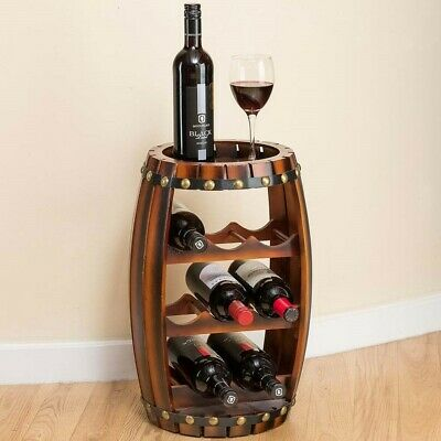 Christow Wooden Barrel Wine Rack Free Standing 8 Bottle Holder Oak Effect