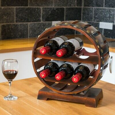 Wooden Quarter Barrel Wine Rack Free Standing Bottle Holder Oak Effect 6 Bottles