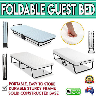 Foldable Foldaway  Guest Bed Mattress Compact Wheels Sleepover