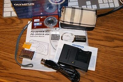 """OLYMPUS FE-3010 Digital Camera 12MP with lots of accessories ORANGE 2.7"""" LCD 3X"""