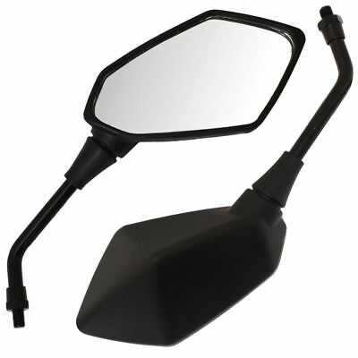 Universal Motorbike Motorcycle Parts Pair Rear Angled View Mirrors 10mm Black
