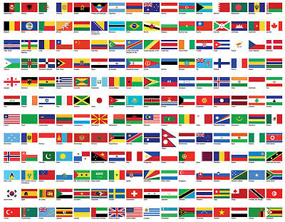 Flags of the World Self Adhesive Vinyl Wall Art Sticker Mural Poster multi size*