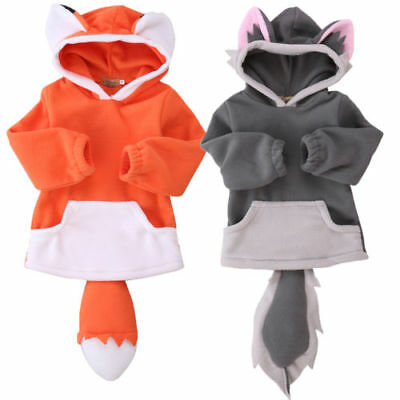 Fleece Boy Girl Baby Fox Wolf Jumper Hooded Top Hoodie,Cute Baby Clothes,Gift