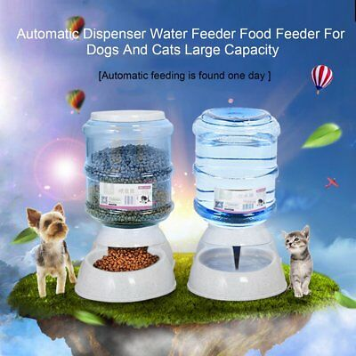 Large Automatic Pet Dog Cat Feeder Water Food Bowl Auto Holiday Dispenser YG