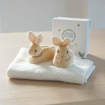 Beatrix Potters Peter Rabbit Boy Girl Baby Rattle Booties Gift Boxed-Lovely Gift