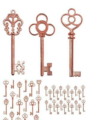 Lot Of 30 Vintage Antique Skeleton Furniture Cabinet Old Lock Keys Rose Gold New