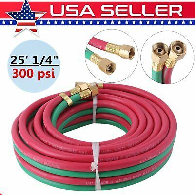 "Twin Welding Torch Hose Oxygen Acetylene Oxy 25' 1/4"" For Victor Harris Cutting"