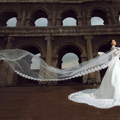 3 Meters Long Lace Edge Cathedral Wedding Gown Bridal White Tulle Veil YG