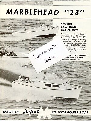 Vintage Original 1956 Marblehead 23 Foot Boats Brochure & Factory Letter