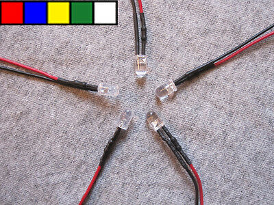 U.S. Seller 5pcs 5mm Pre Wired LEDs 12v Red Blue Green Yellow White