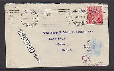 1923  KGV  2d  RED UNDERPAID  COVER FROM  QLD  TO SANDUSKY OHIO  USA............