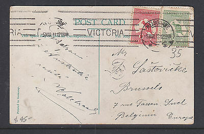 1913 1d RED KANGAROO  AND 1/2d GREEN ON  GPO MELBOURNE POSTCARD VERY FINE.