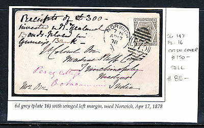 GB 1878 QV 6d GREY PLATE 16 WITH WINGED LEFT MARGIN ON COVER