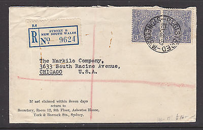 1933  KGV  3d  BLUE X 2 REGISTERED COVER FROM  SYDNEY  TO  CHICAGO  USA