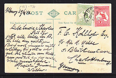 1913 1d RED ROO AND 1/2d GREEN ON  UNION BRIDGE ALBURY POSTCARD.