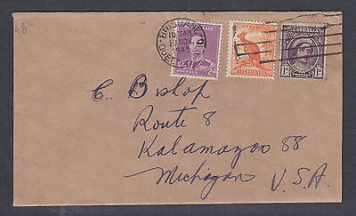 1948 3 1/2d COVER FROM BRISBANE TO MICHIGAN USA