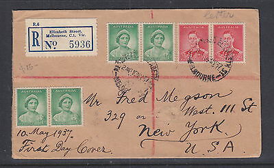 Fdc: 1937 Registered Cover To New York  10 May 1937, The Die 1 Stamps.