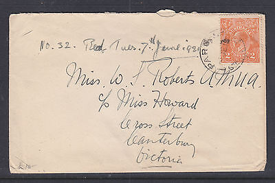 1915  KGV  2d ORANGE COVER TO CANTERBURY VICTORIA   RECIEVED 6 YEARS LATER?