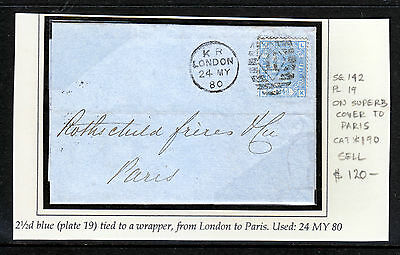 GB 1880 QV 2 1/2d PLATE 19 TIED TO WRAPPER LONDON TO PARIS