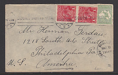 191? KGV 1d RED PAIR & 1/2d ROO COVER S.A. TO PHILADELPHIA USA