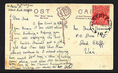 1931 2d RED KGV ON NICE COLLINS ST  MELBOURNE POST CARD